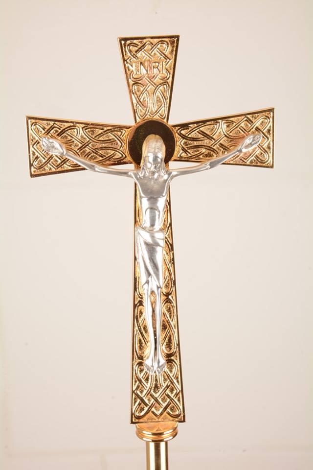 Croce astile in bronzo bicolore GALF2025