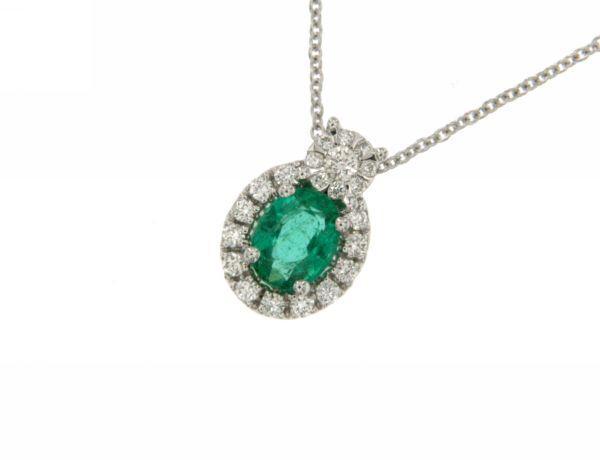 Girocollo in Oro Bianco con Smeraldo e Brillanti