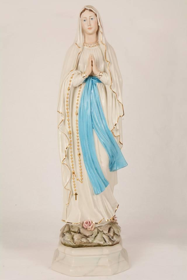 Statua Madonna di Lourdes in porcellana PIN-ML74 h. 80