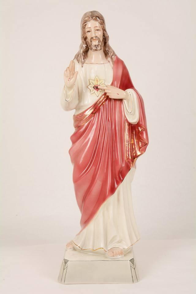 Statua Sacro Cuore di Gesù in ceramica LUC60 h. 60