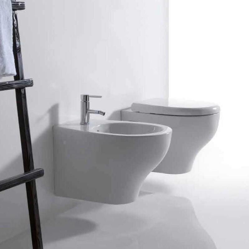Vaso e bidet sospeso per il bagno monoforo Eden Galassia cm 53 x 36