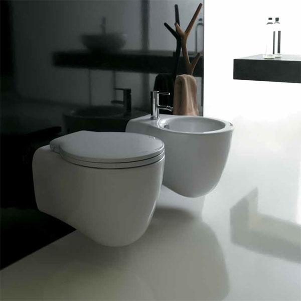 Vaso e bidet sospeso per il bagno monoforo Ergo Galassia cm 51 x 36