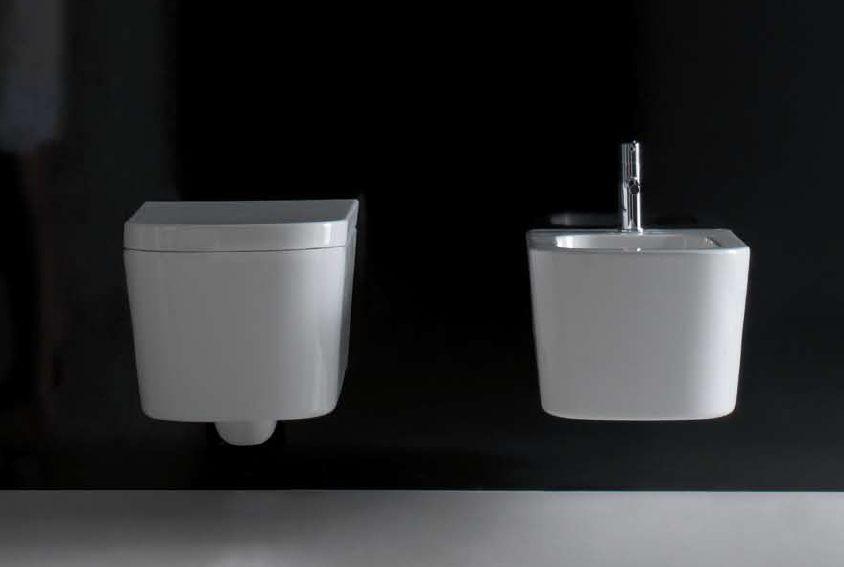 Vaso e bidet sospeso per il bagno monoforo Meg 11 Galassia cm 55 x 35