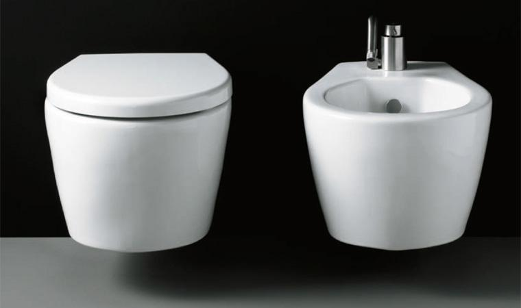 Vaso e bidet sospeso per il bagno monoforo Xes Galassia cm 51 x 38