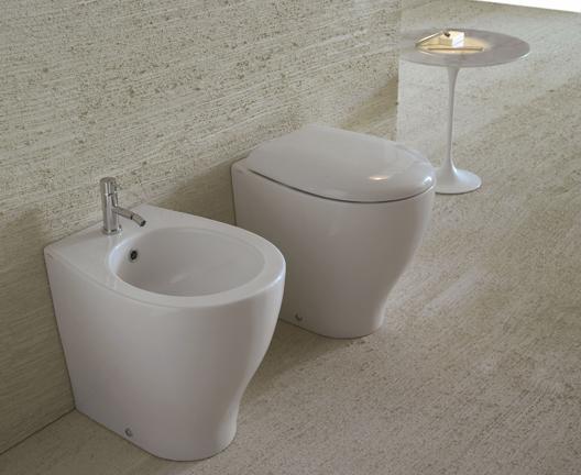 Vaso e bidet a terra filo parete per il bagno cm 50 x 38 Bowl+ Globo