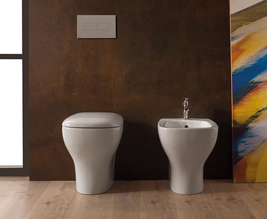 Vaso e bidet a terra per il bagno cm 55 x 37 Genesis Globo