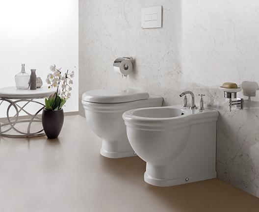Vaso e bidet a terra per il bagno cm 57 x 38 Paestum Globo