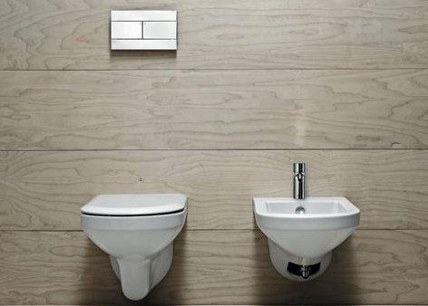 Vaso e bidet sospeso per il bagno cm 56 x 36 Thin Azzurra