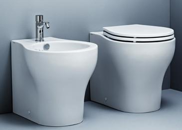 Vaso e bidet a terra per il bagno cm 48 x 38 Vera Azzurra