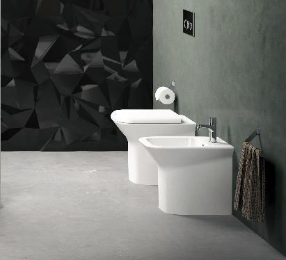 Vaso e bidet a terra per il bagno cm 52 x 35 Prua Azzurra