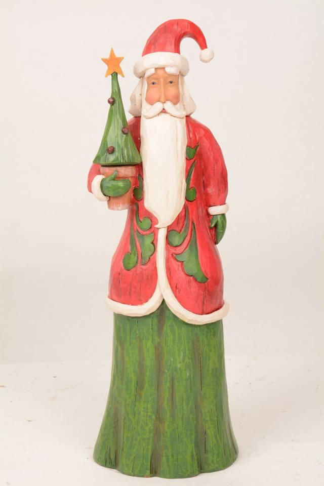 Jim Shore Folklore Tall Santa Holding Tree 4058764