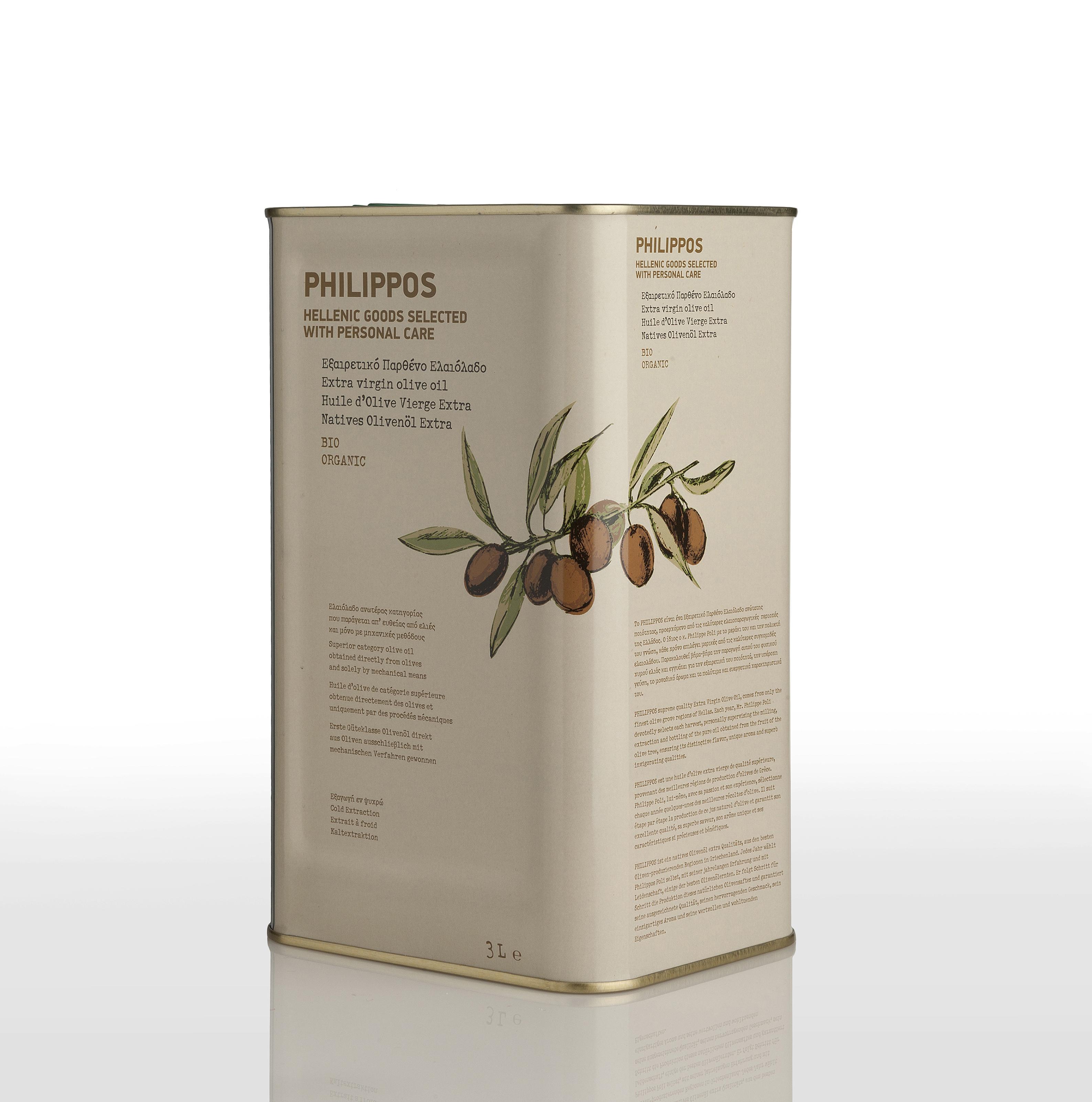 PHILIPPOS ORGANIC Extra Virgin Olive Oil 3L