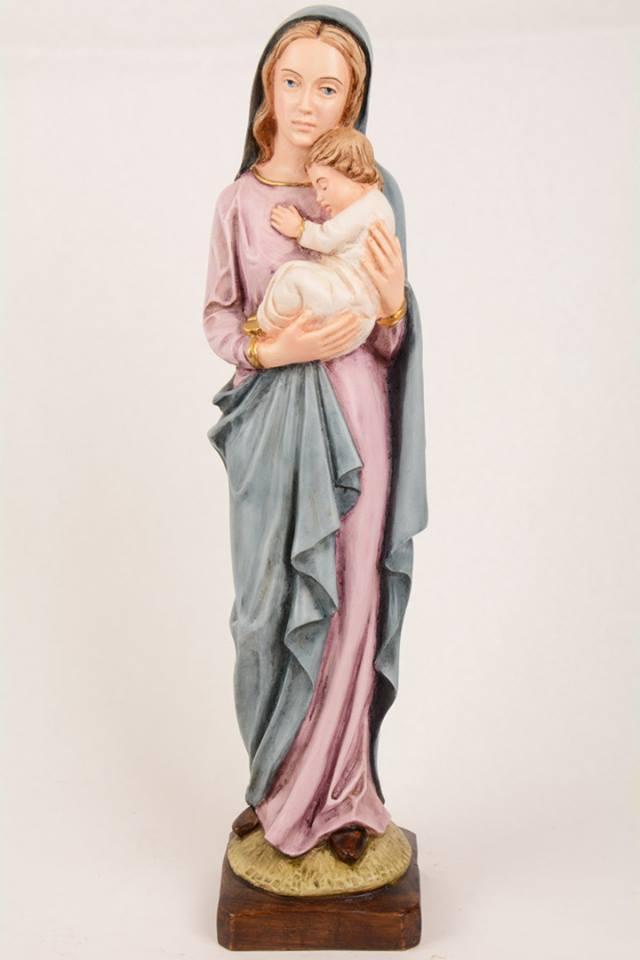 Statua Madonna con bambino in resina h. 50 PASQPA503