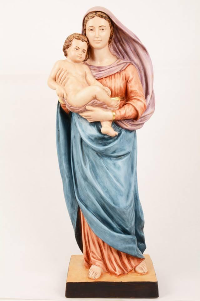 Statua Madonna con bambino in resina PA603 h. 60