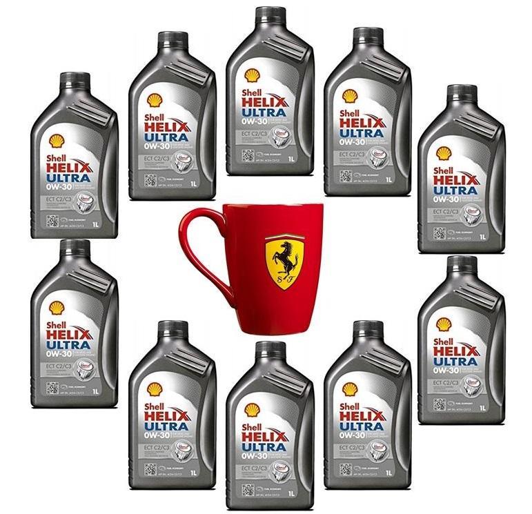 PROMO 10x1 Olio Shell Helix Ultra ECT C2/C3 0W-30 con Tazza Mug Ferrari in omaggio
