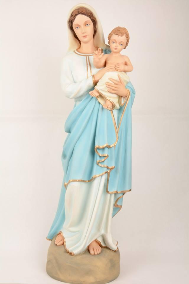 Statua Madonna con Bambino in Vetroresina DEC405 h. 80