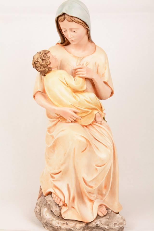 Statua Madonna con bambino in resina PA508 h. 52