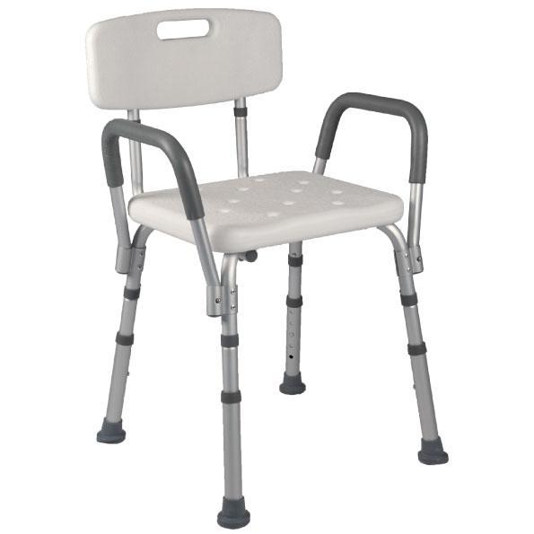 Sedile da doccia con schienale e braccioli estraibili