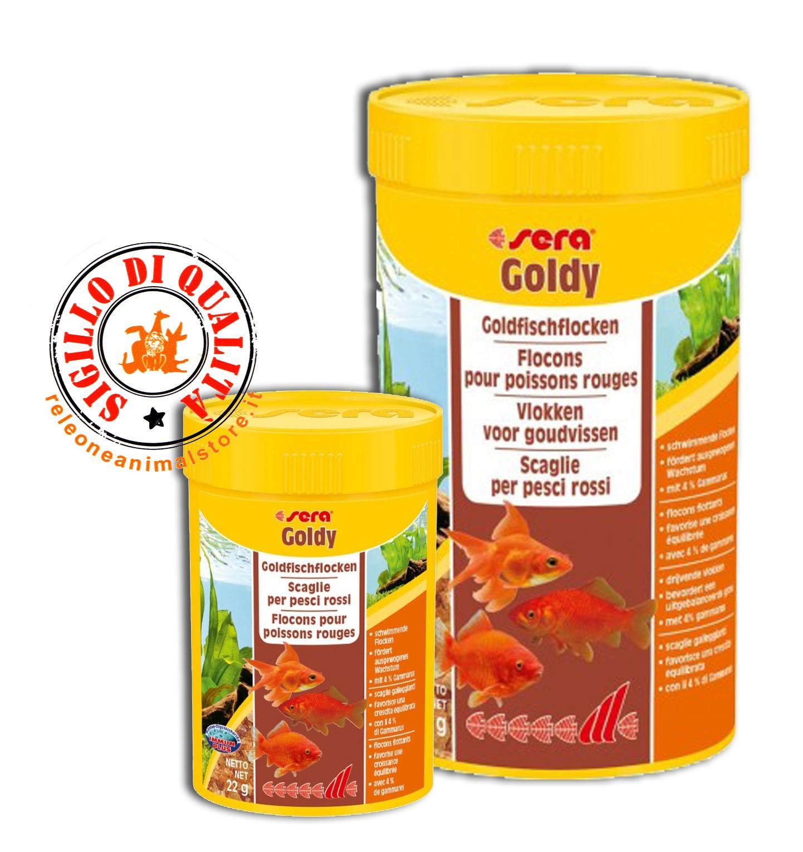 Sera goldy mangime in scaglie per pesci rossi acquario for Sabbia per acquario pesci rossi