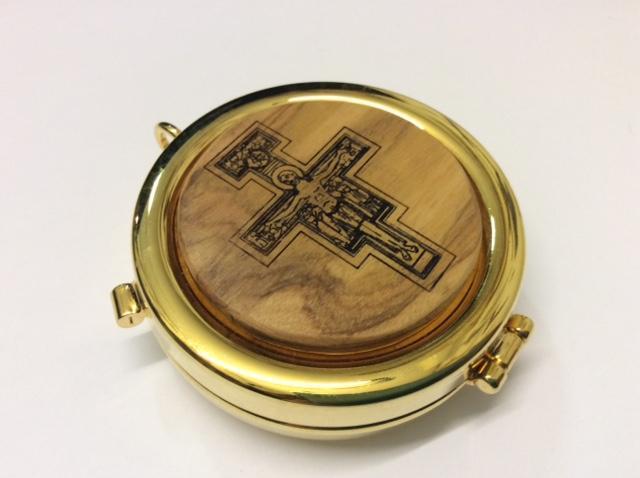 Teca eucaristica in legno d'ulivo Croce