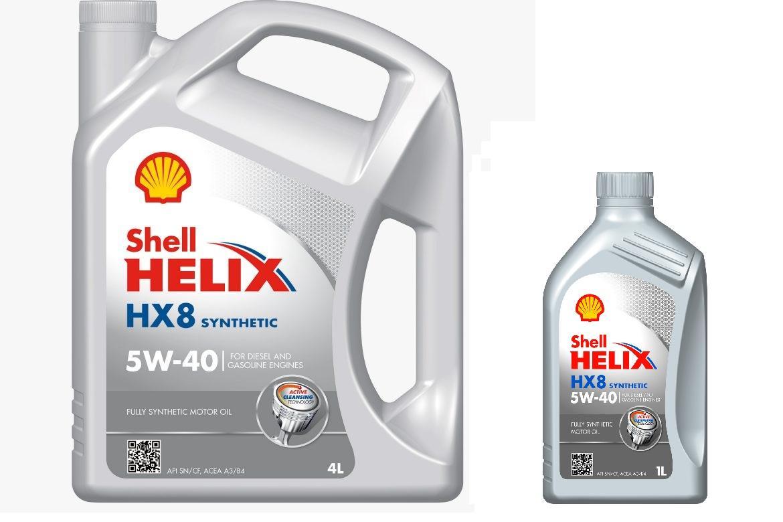 Kit cambio olio 5 litri Shell Helix HX8 5w40 barattolo 4 litri + barattolo 1 litro