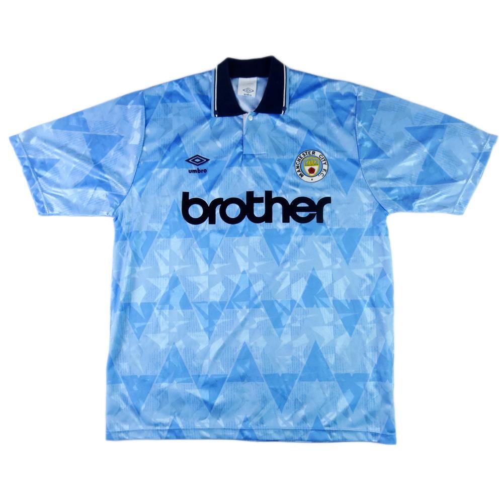 1989-91 Manchester City Maglia Home L (Top)