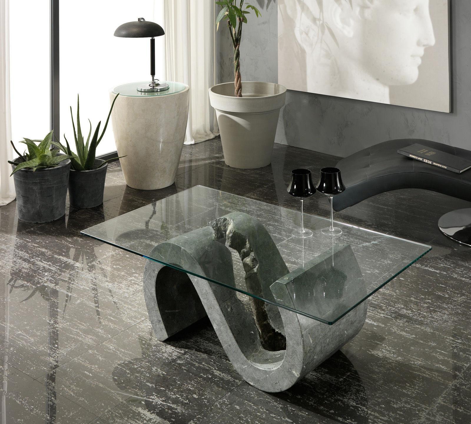Tavolino da Salotto Flexus in  Pietra FossilStone e Vetro