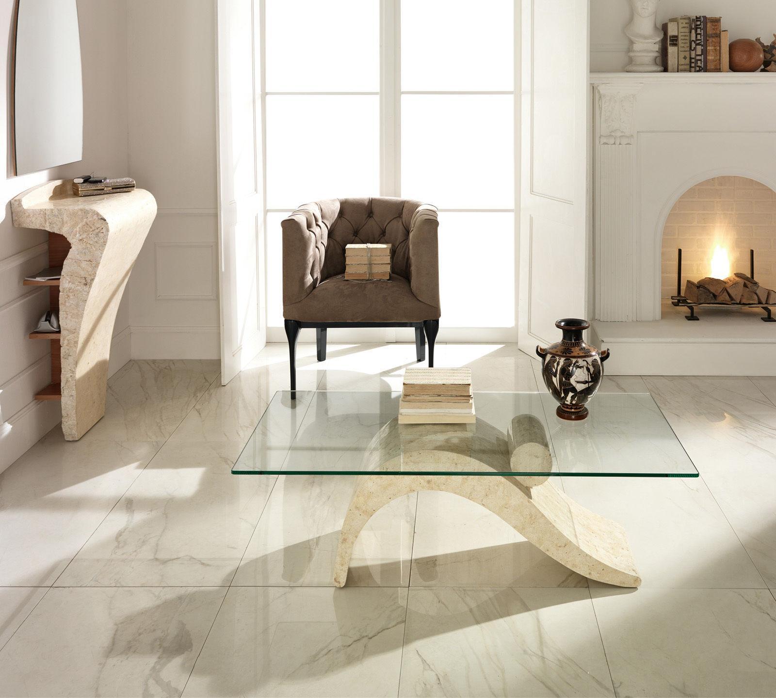 Tavoli In Pietra E Cristallo.Tavolino Da Salotto Dove In Pietra Fossilstone E Vetro