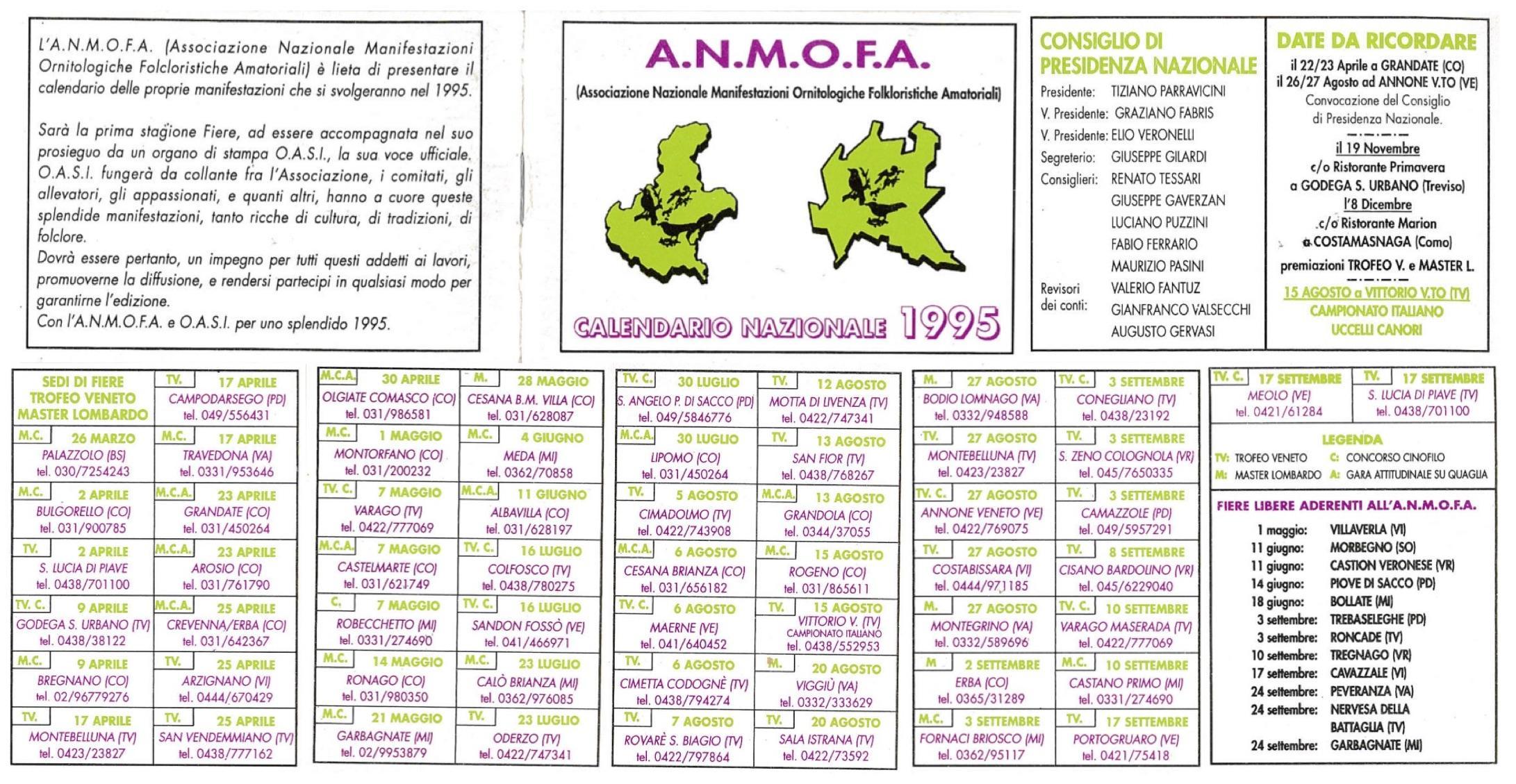 Fiera Erba Calendario.Associazioni Ornitologiche Riunite Fiere Uccelli