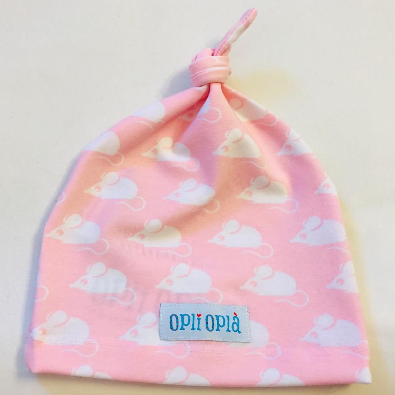 Topini rosa cuffietta neonata