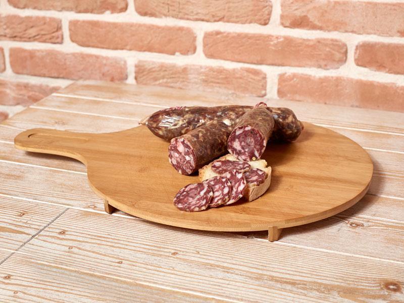 Salsiccia stagionata di Monte San Biagio di Maiale Nero Casertano a punta di coltello – Conf. da 450 gr