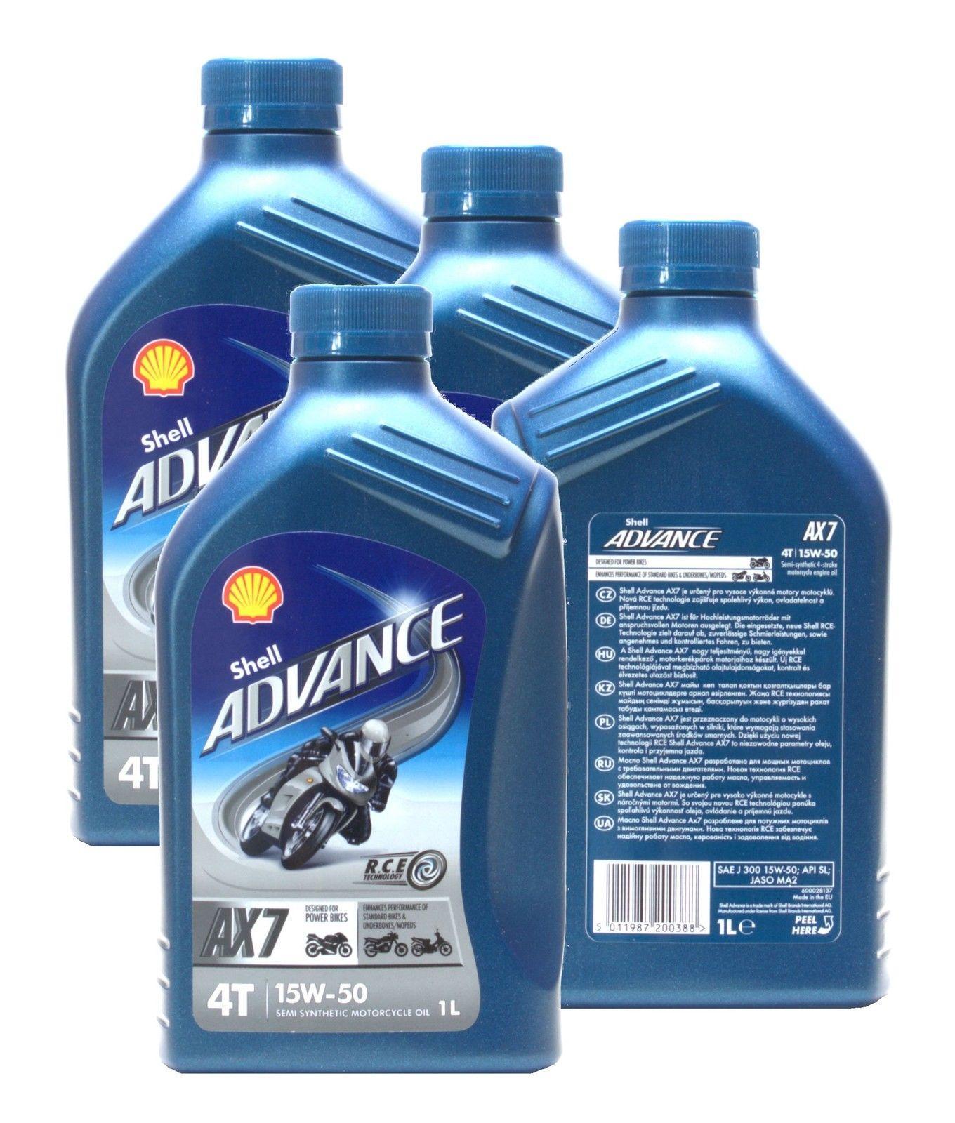 Shell Advance 4T AX7 15w/50 4x1 litro