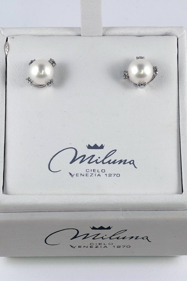 Orecchini Miluna Oro Bianco 18 kt Perla Naturale