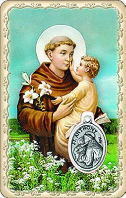 Pvc con medaglia e preghiera di S. Antonio di Padova