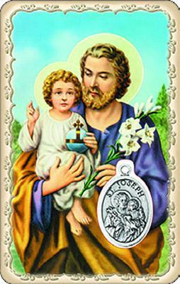 Pvc con medaglia e preghiera di S. Giuseppe