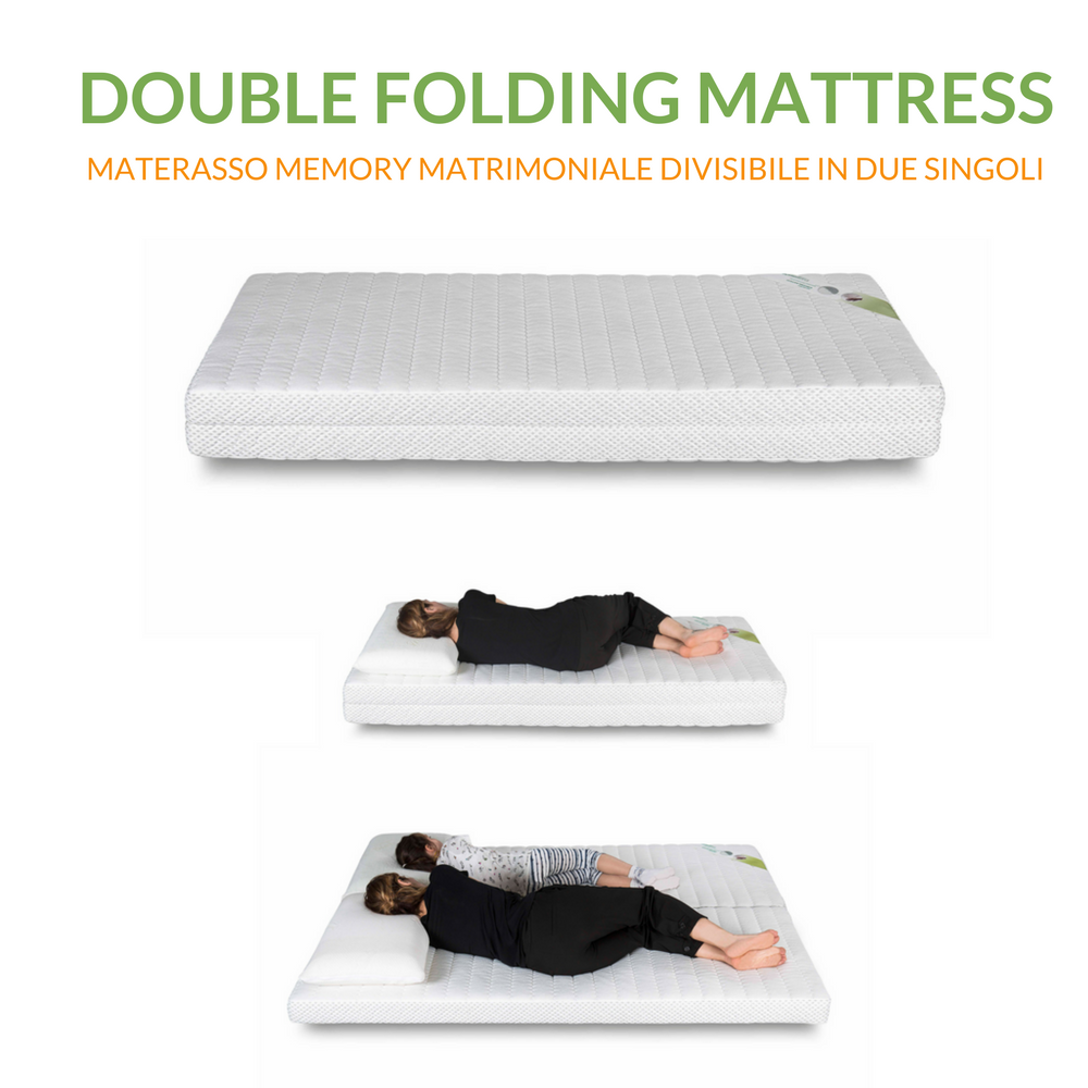 Materasso Memory 80x190 Trasformabile in Materasso Matrimoniale Memory 160x190 | Double Folding Mattress