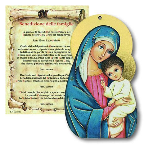 Tavoletta Madonna con Bimbo con benedizione Famiglia