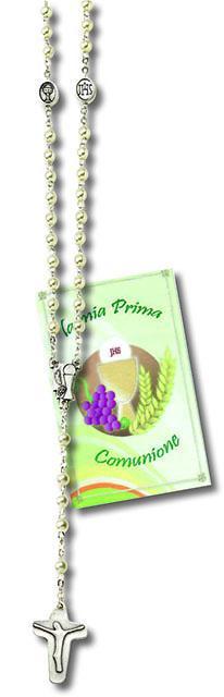 Corona rosario comunione in vetro