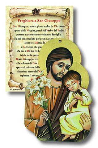Tavoletta sagomata in legno S. Giuseppe con preghiera