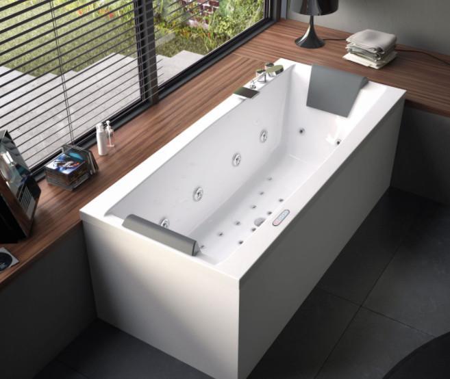 Vasca da bagno senza idro cm 180 x 80 Eden Glass