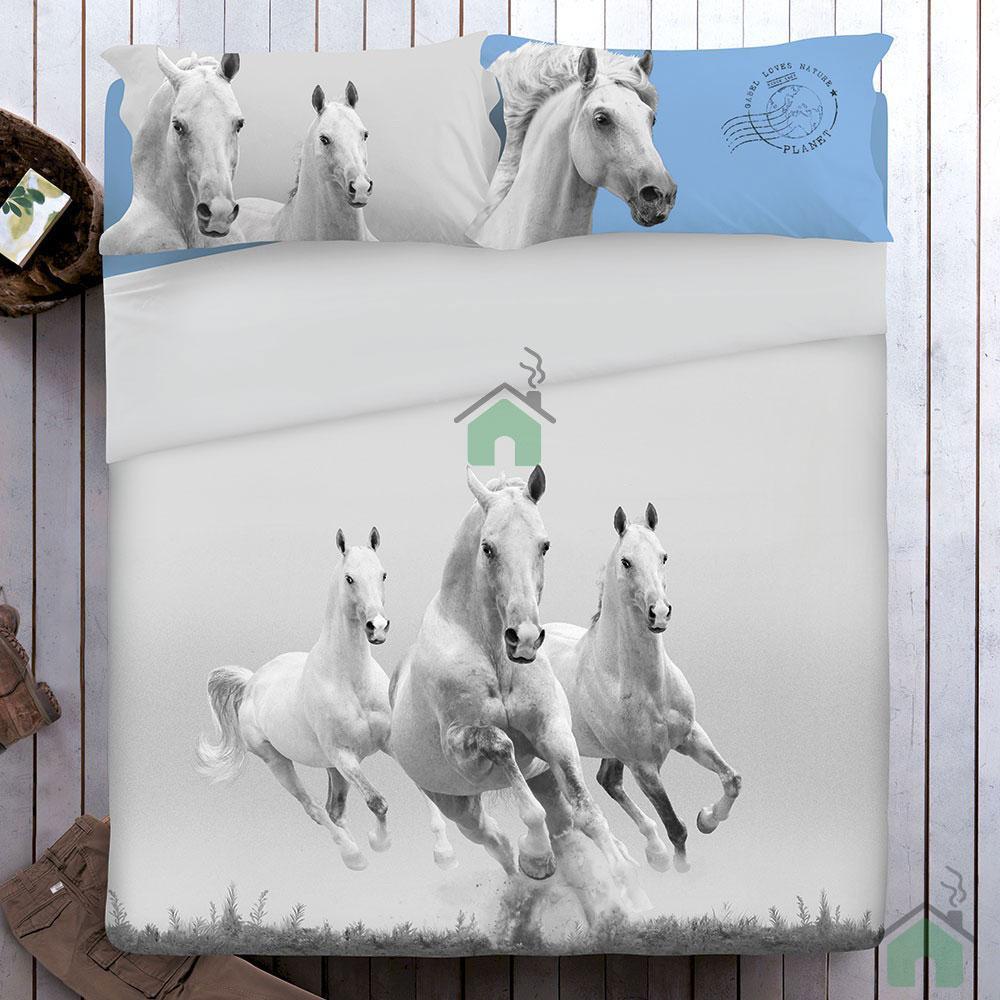 Set Copripiumino matrimoniale GABEL galoppo di cavalli Mustang