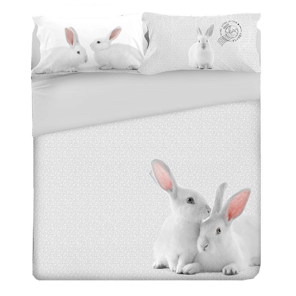 Lenzuola Una Piazza E Mezza Gabel.Set Lenzuola Gabel Per Letto Singolo Bunny Coniglietto Bianco1 Piazza Cotone