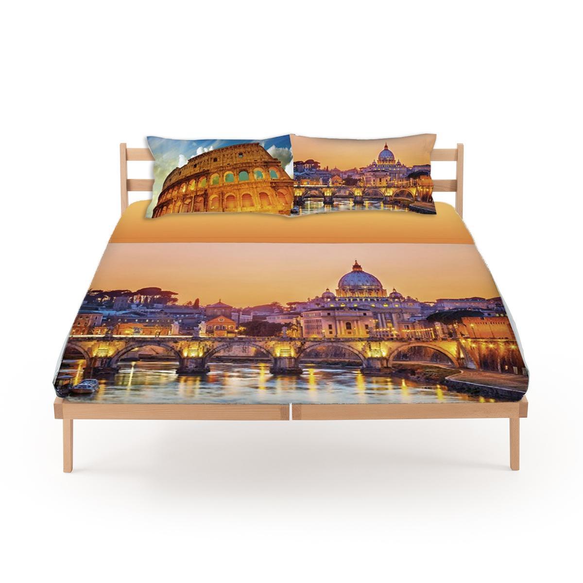 Set lenzuola roma da gabel per letto matrimoniale stampa tridimensionale in puro cotone - Set letto matrimoniale ...