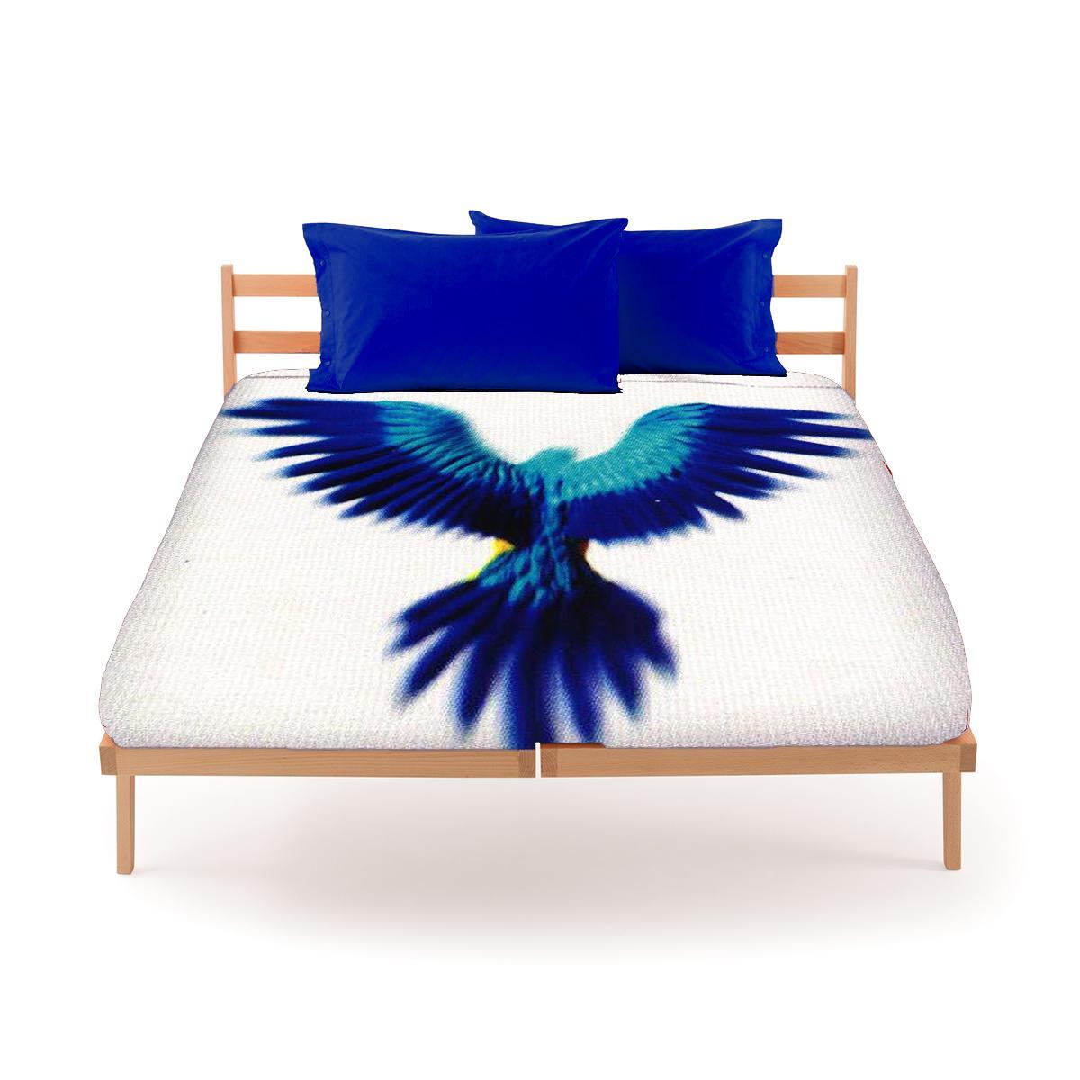 Set lenzuola bassetti by gardone per letto matrimoniale fondo bianco pappagallo - Set letto matrimoniale ...