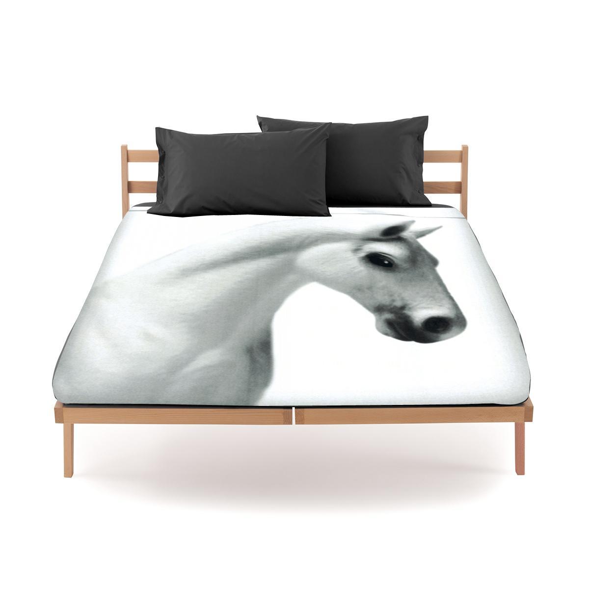 Set lenzuola bassetti by gardone per letto matrimoniale fondo bianco cavallo - Set letto matrimoniale ...