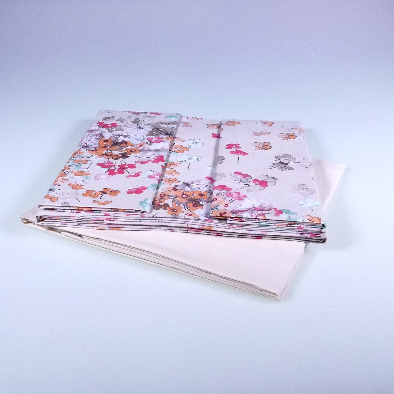 Set lenzuola somma per letto matrimoniale lilac beige 250x290 floreale - Set letto matrimoniale ...
