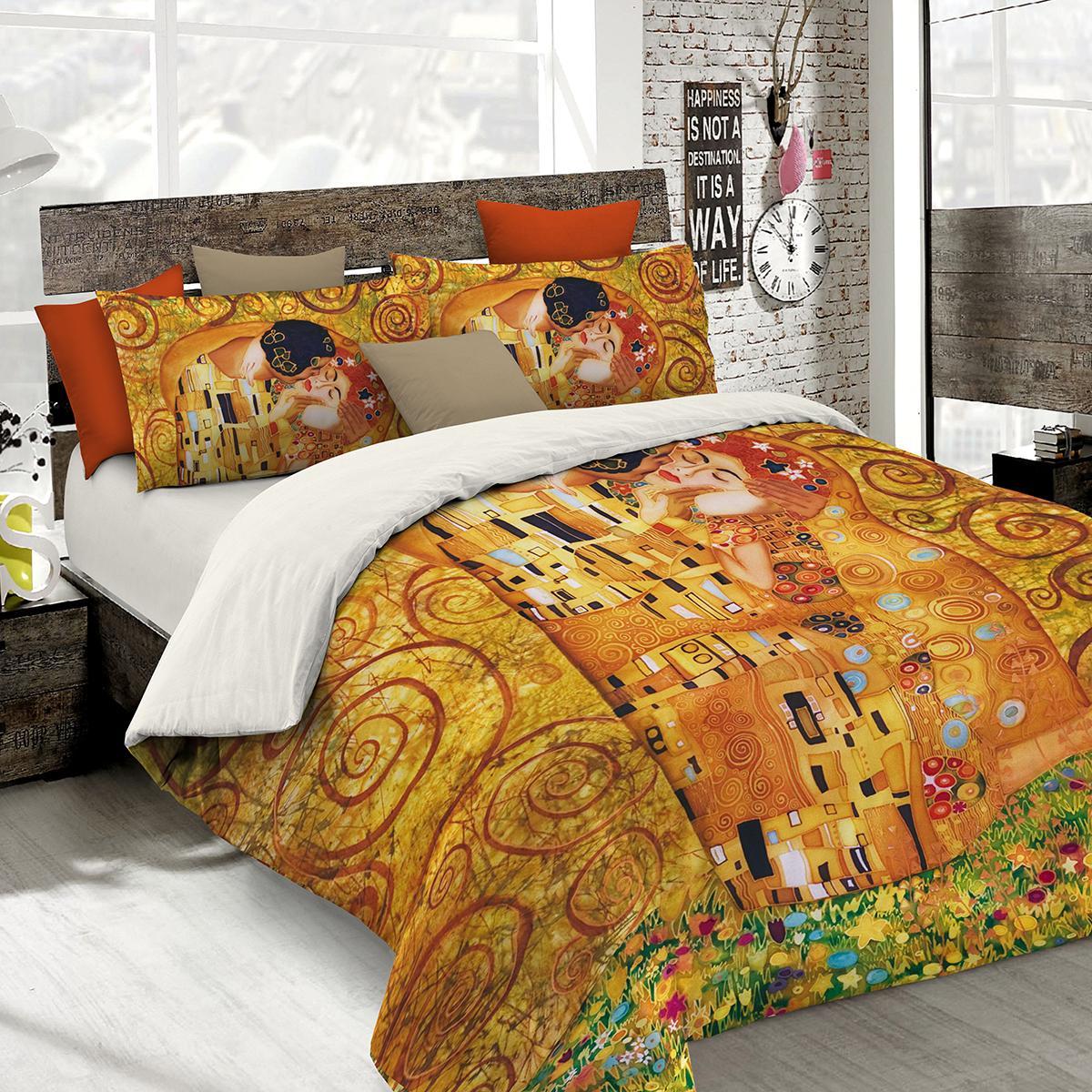 Set lenzuola per letto matrimoniale bacio di klimt stampa fotografica - Set letto matrimoniale ...