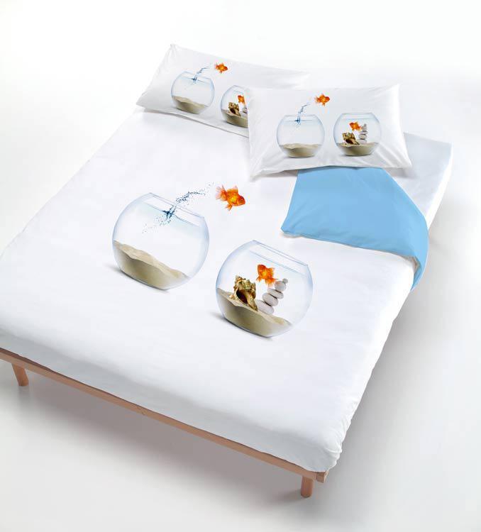 Set copripiumino per letto singolo pesce rosso wanda stampa tridimensionale - Copripiumino letto singolo ...
