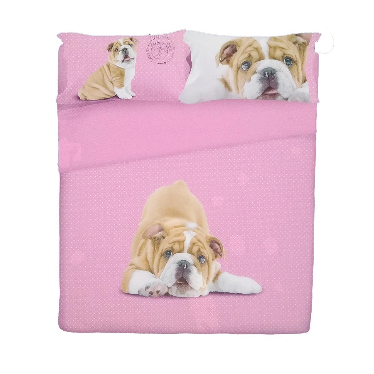 Completo lenzuola letto piazza e mezza grrr cane by gabel rosa - Completo letto 1 piazza e mezza ...