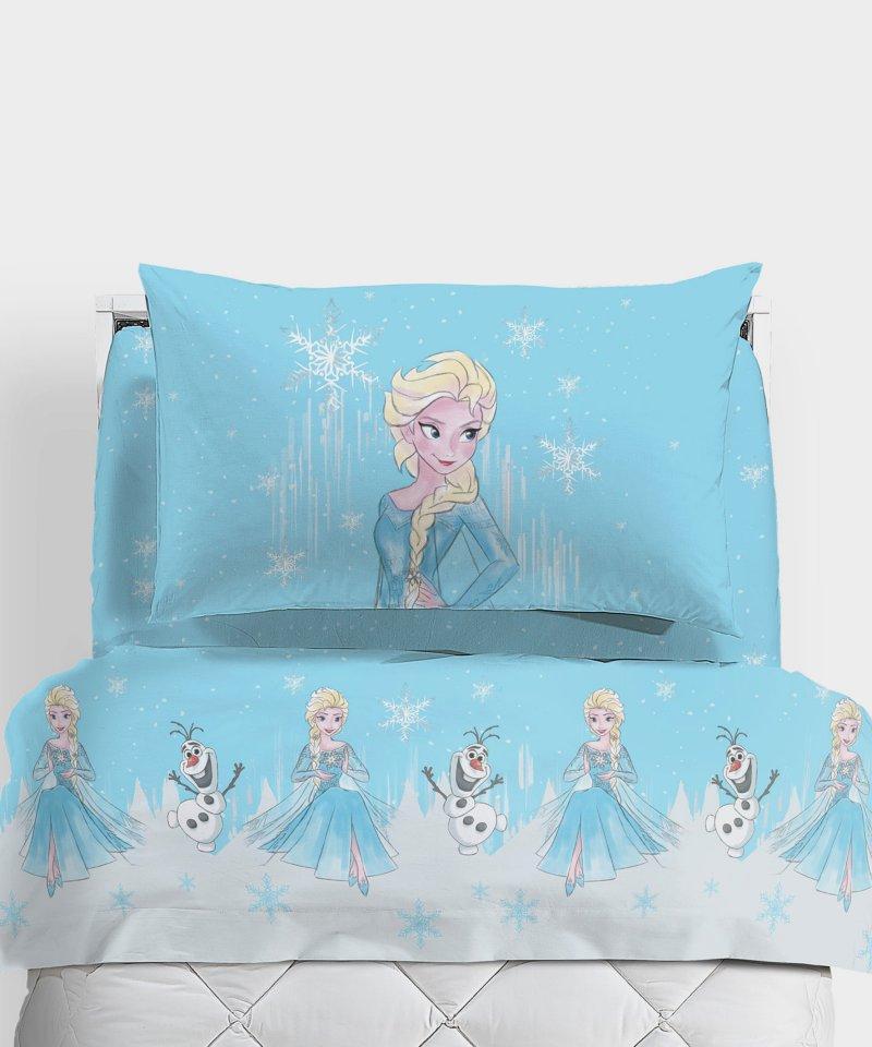 Set lenzuola frozen neve di caleffi per letto singolo una piazza disney turchese - Lenzuola letto singolo bambino ...